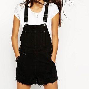 ASOS Black Denim Overall Shorts